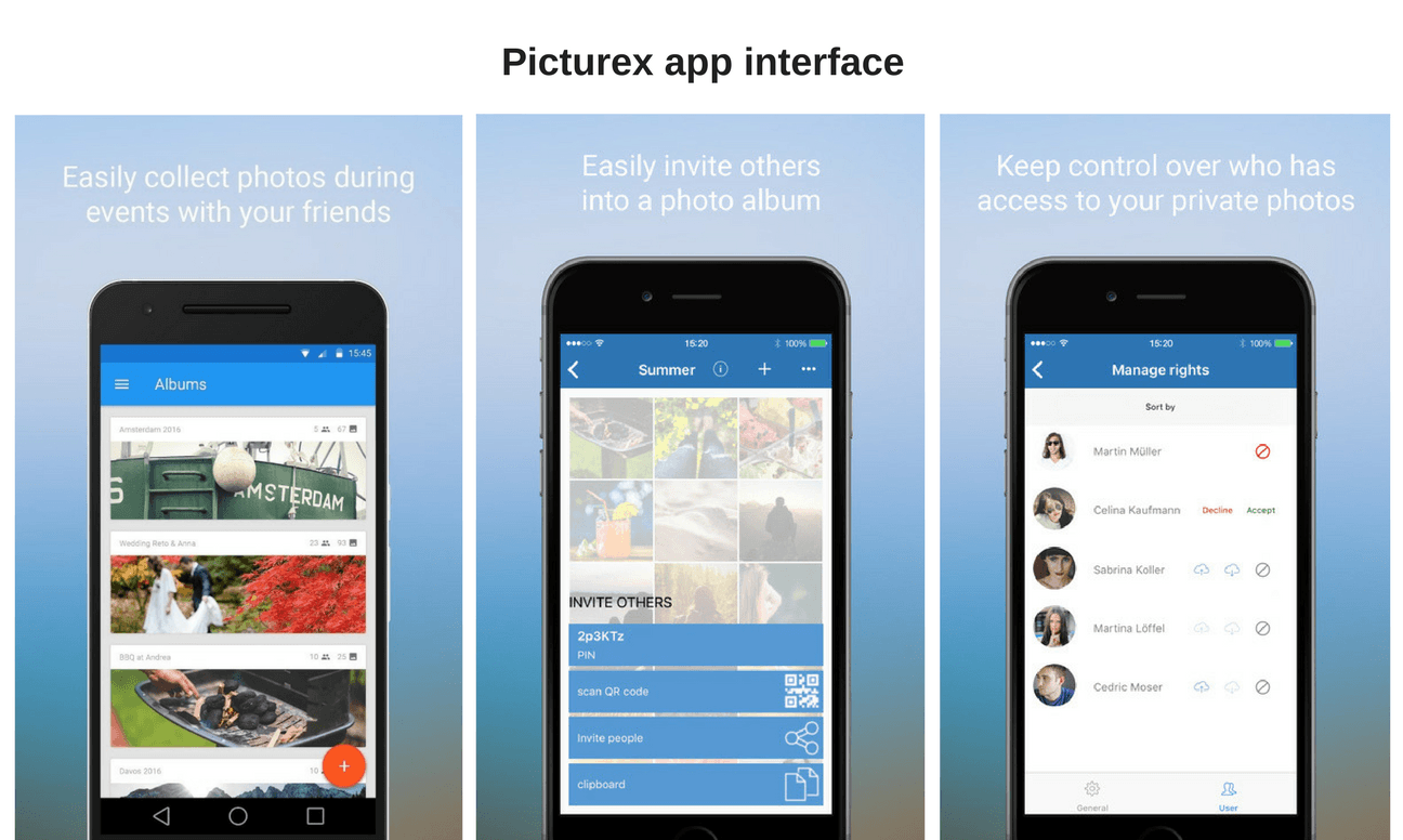 picturex app interface