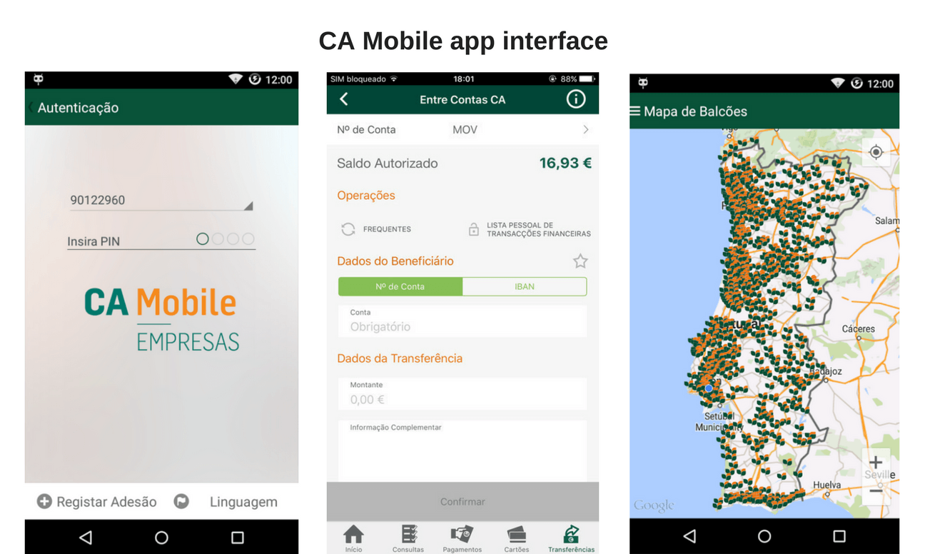 CA Mobile provides, ca mobile app interface