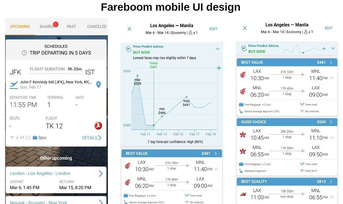 Fareboom Mobile UI design