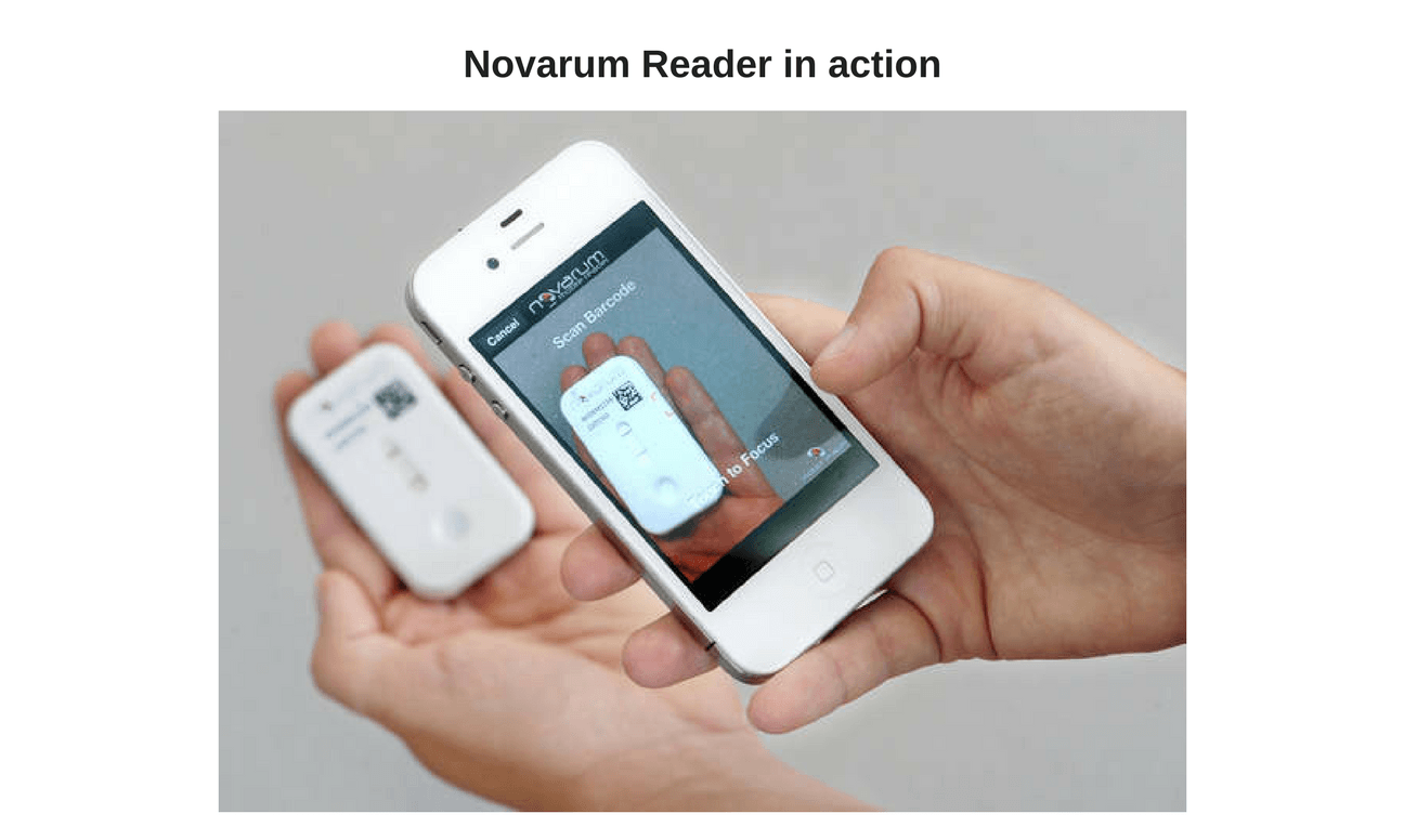 novarum reader in action, Novarum DX scanning QR code