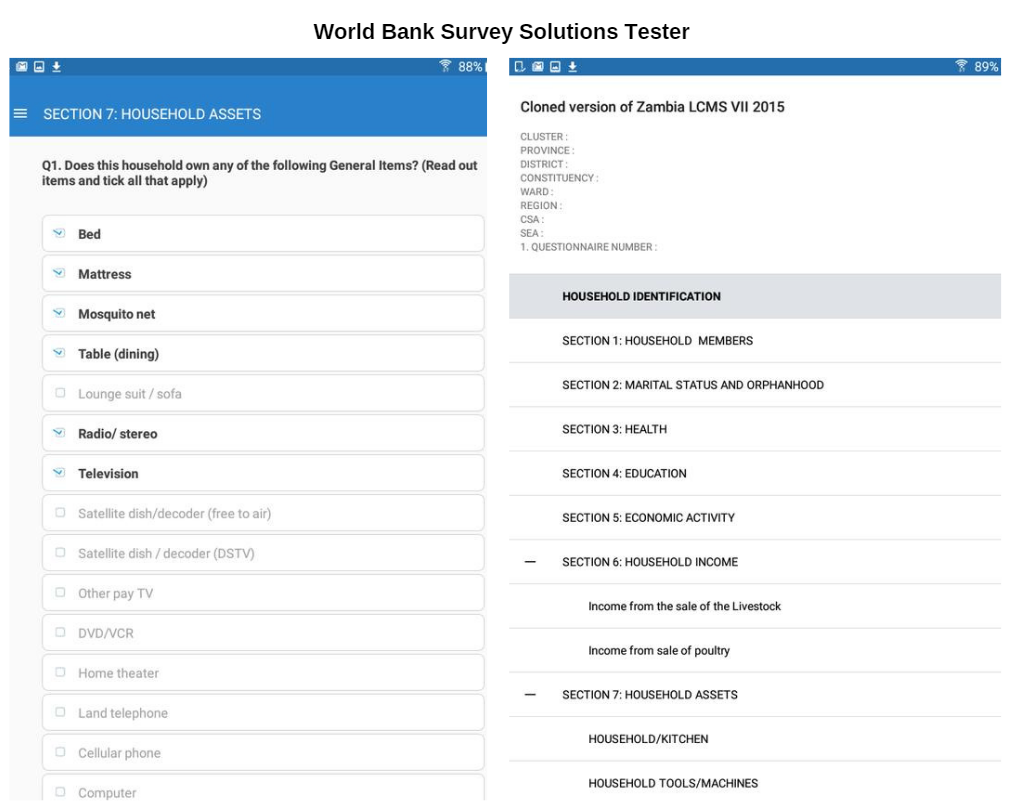 World Bank Tester UI, World Bank Survey Solutions Tester