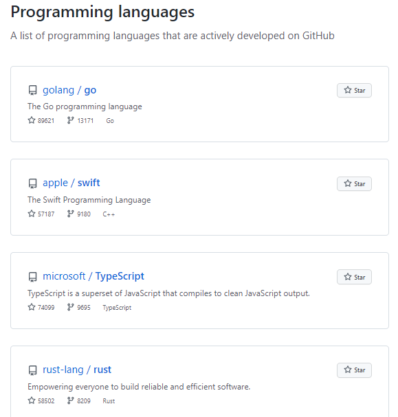 a list of actively developed programming languages github