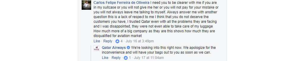 Qatar Airways in Facebook
