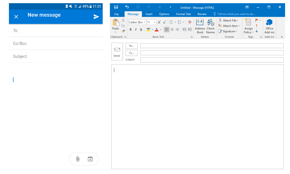 Outlook's mobile version has far fewer bells and whistles than its desktop version