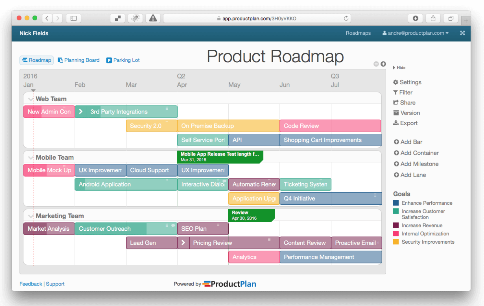 Strategic software product roadmap example