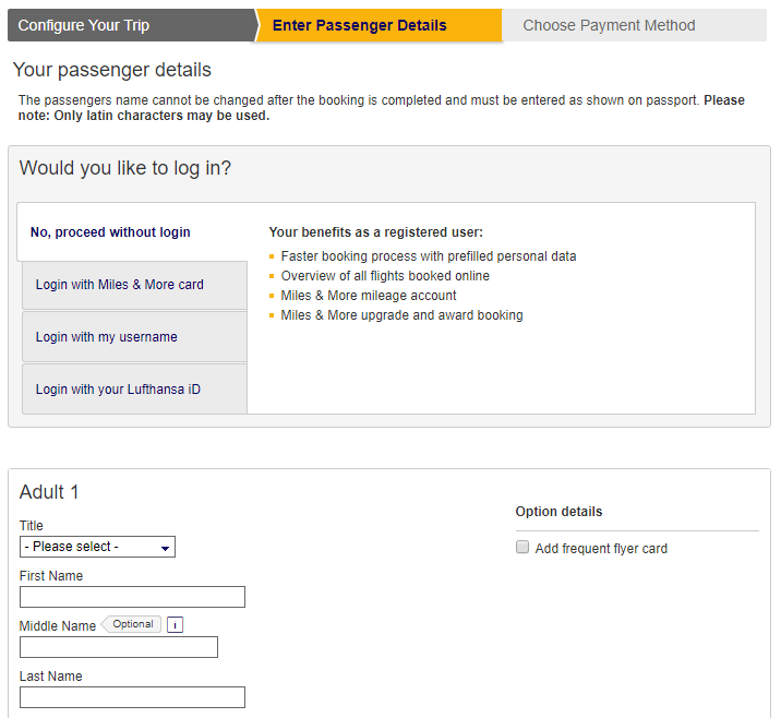 Log-in reminder at Lufthansa