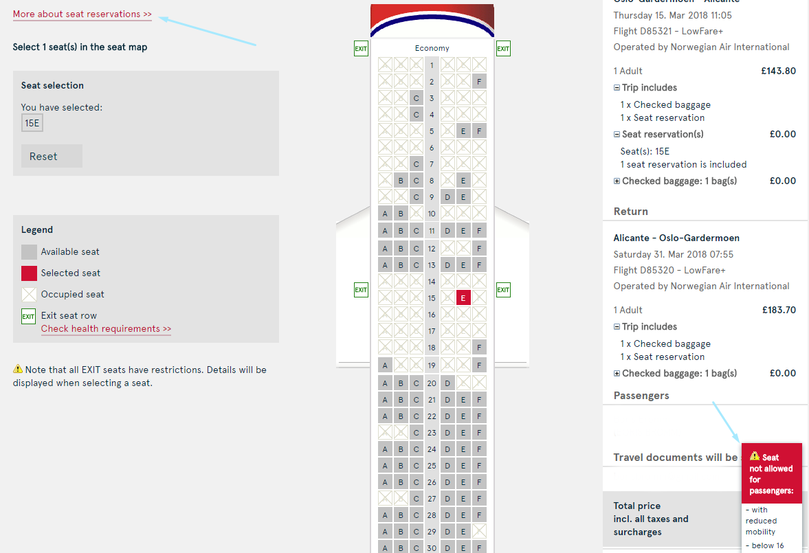 Norwegian Air seating selection