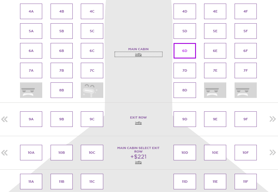Seating selection at Virgin America