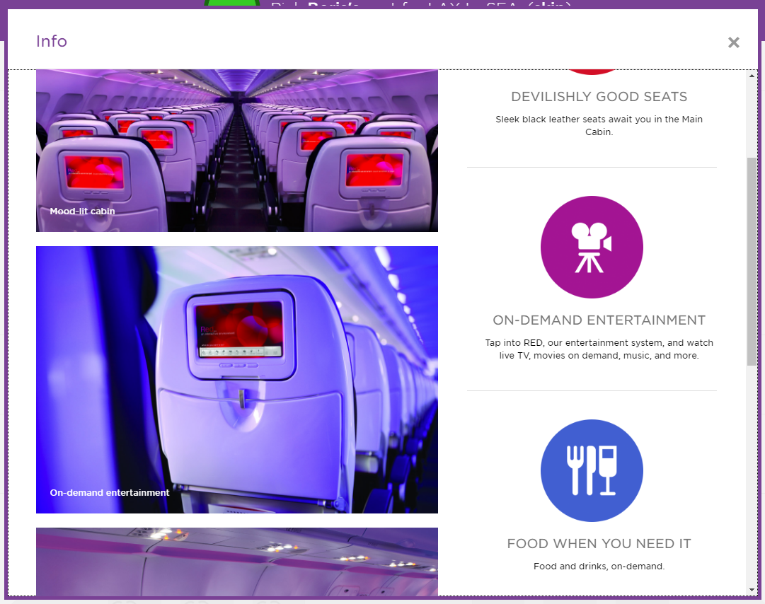 Virgin America seating details