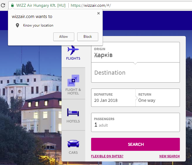 Wizz air geolocation