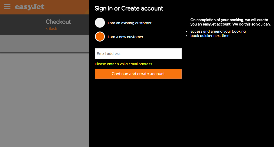 Log-in request from EasyJet