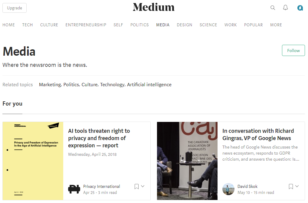 Medium's clean but distinctive visual style sets the tone for sharing and perceiving textual content