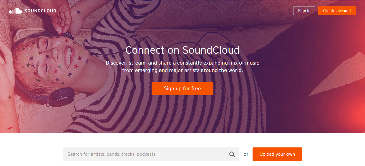 SoundCloud uses effective wording to describe the scope of the service's functionality