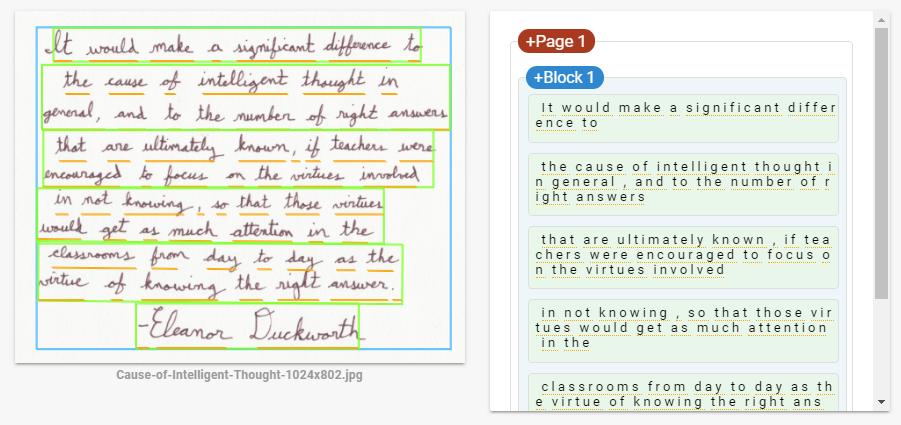 Handwritten text recognition