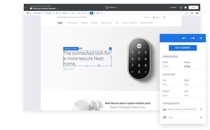 Google Optimize interface