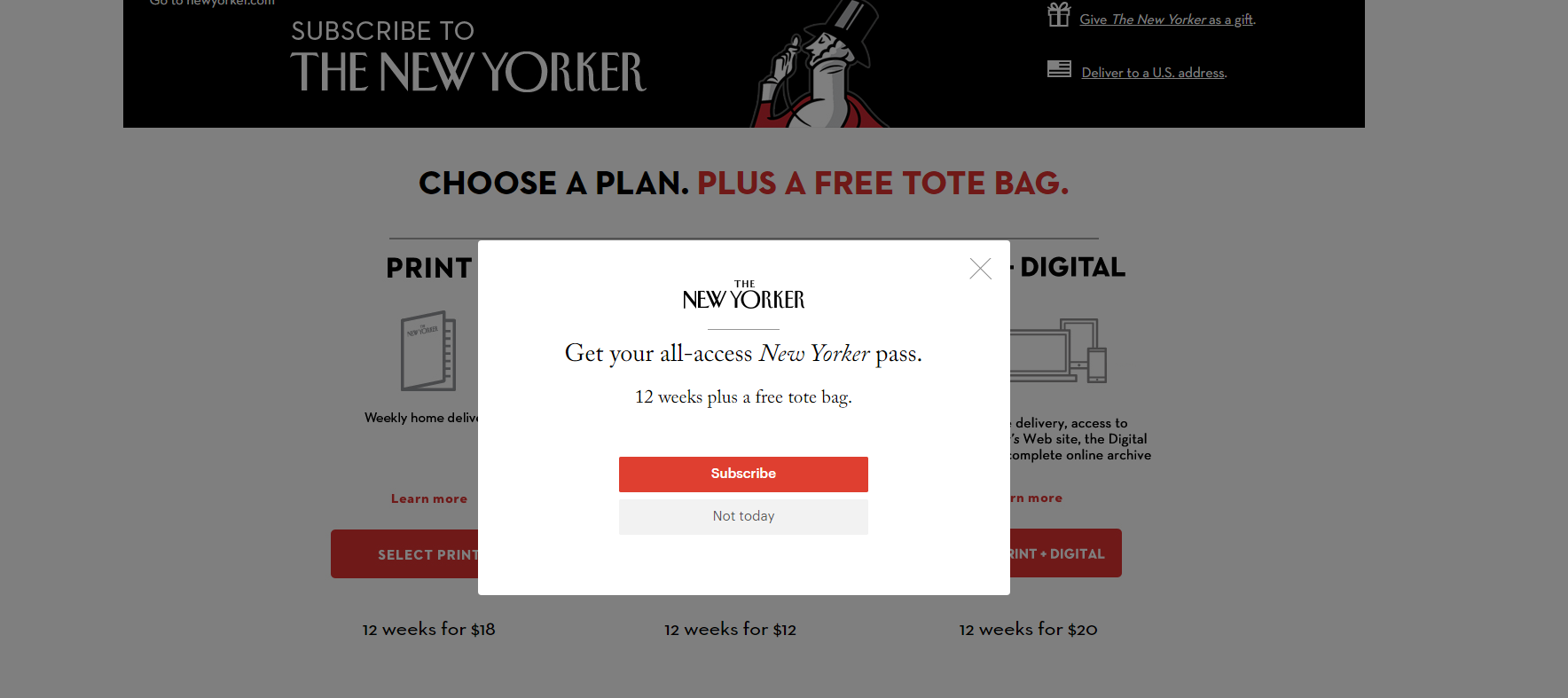 Exit pop-up The New Yorker