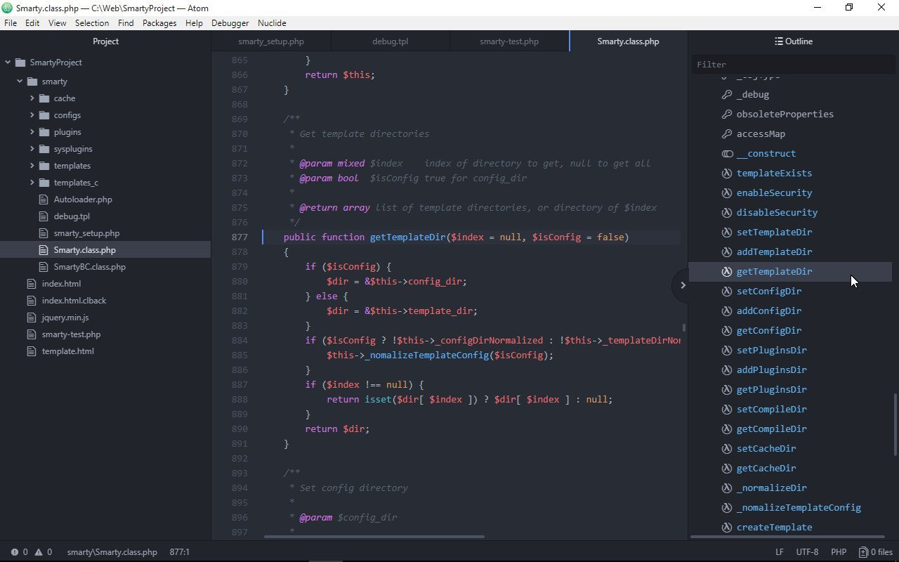 After applying these actions, Atom gets a more functional appearance