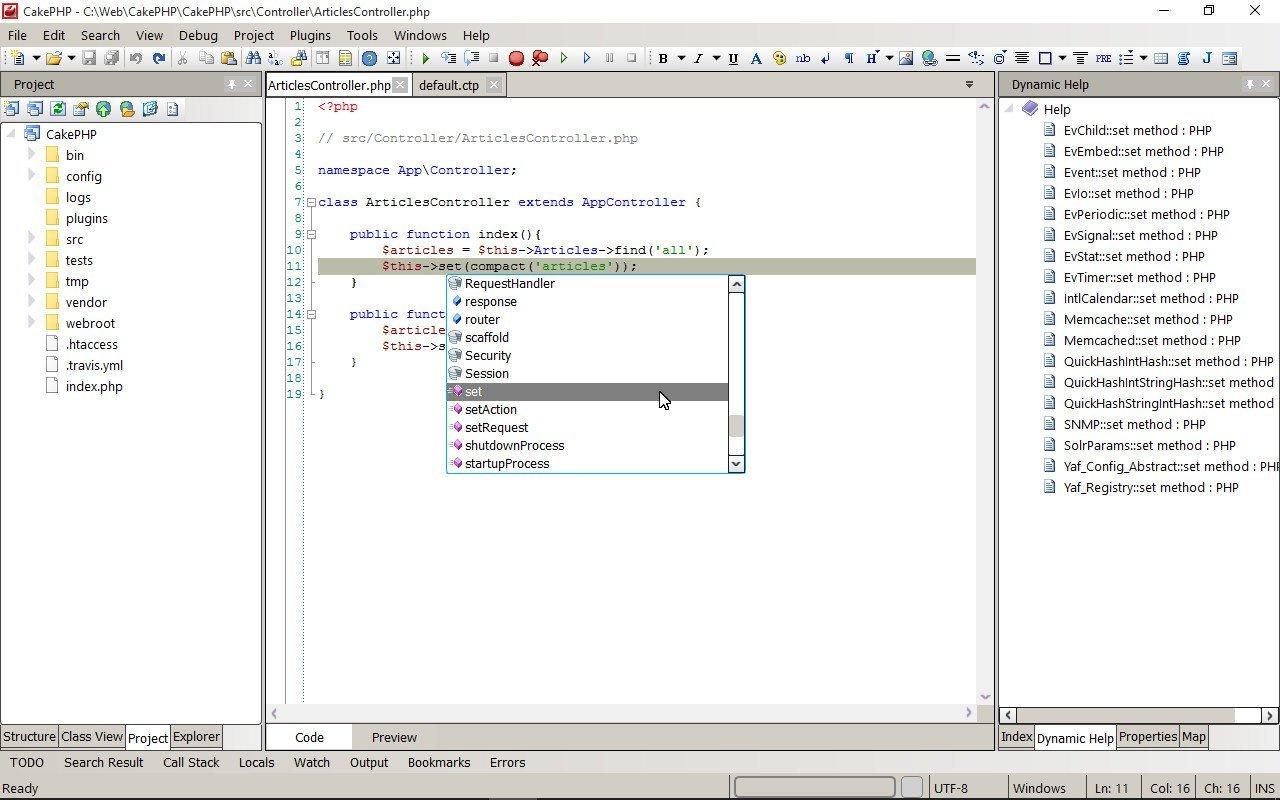 Codelobster dynamic help