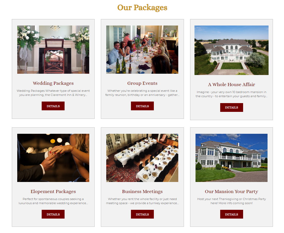 claremont inn packages