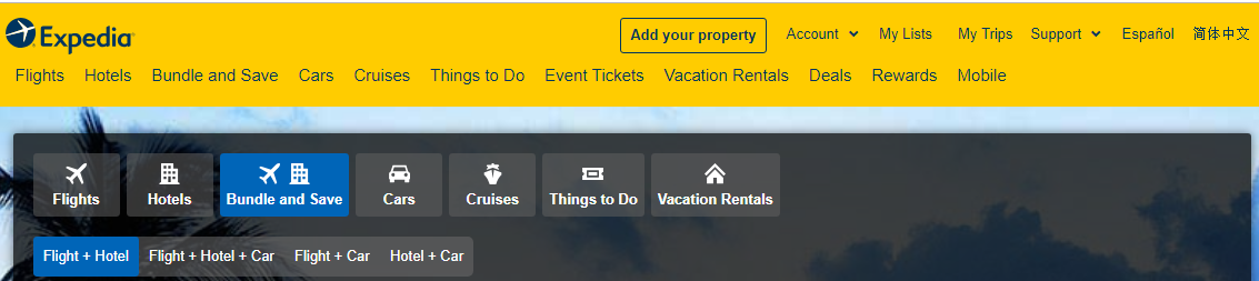 Expedia website labeling with names and icons