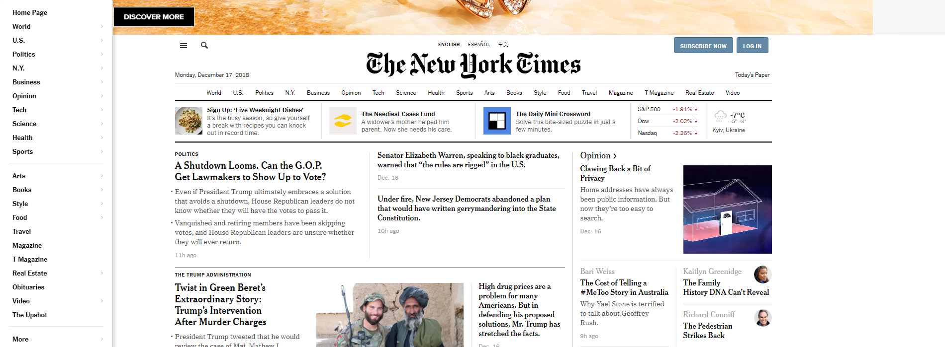Left-sided menu on The New York Times