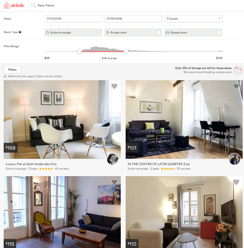 Taxonomization applied on the Airbnb website