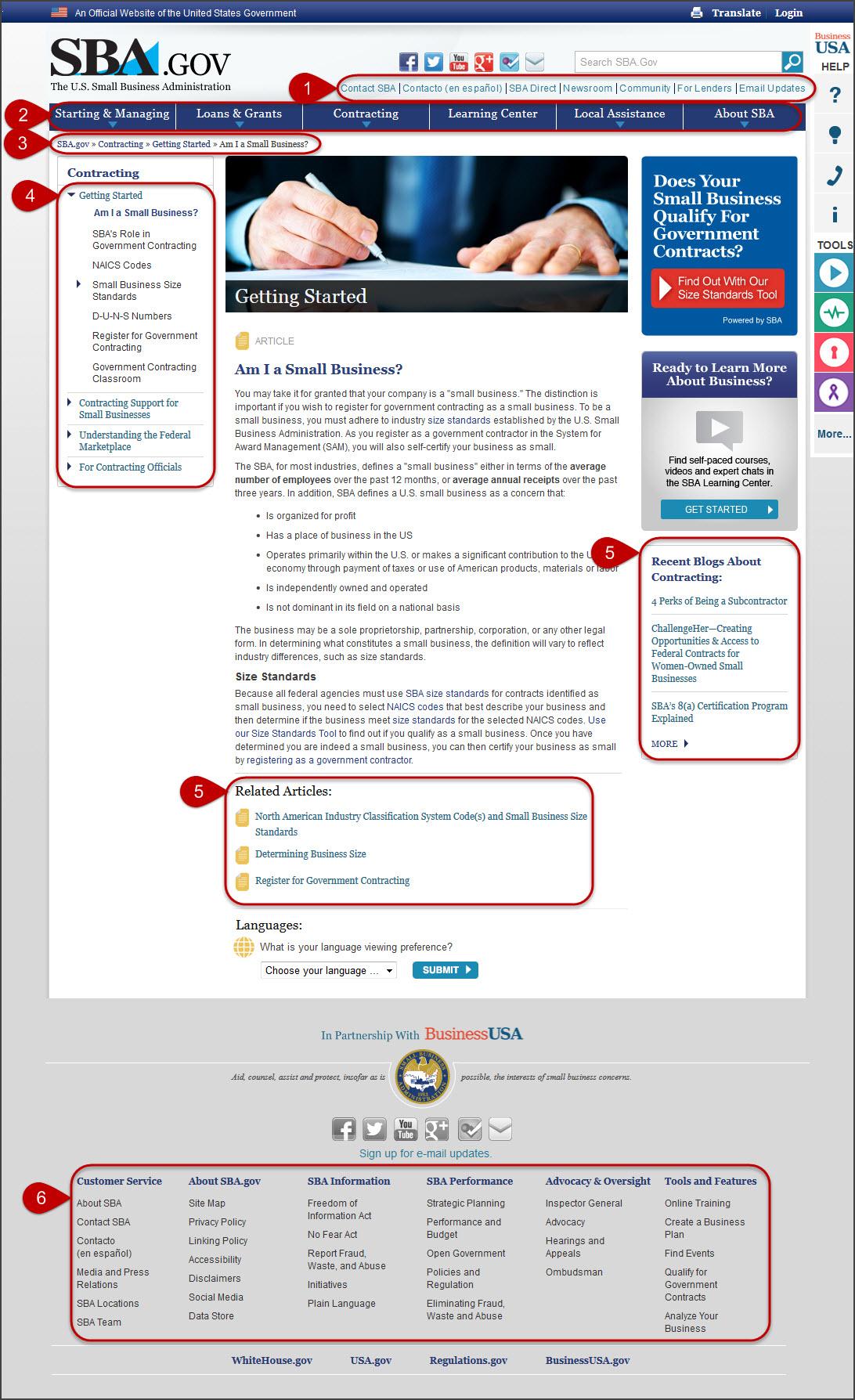 sba website navigation elements