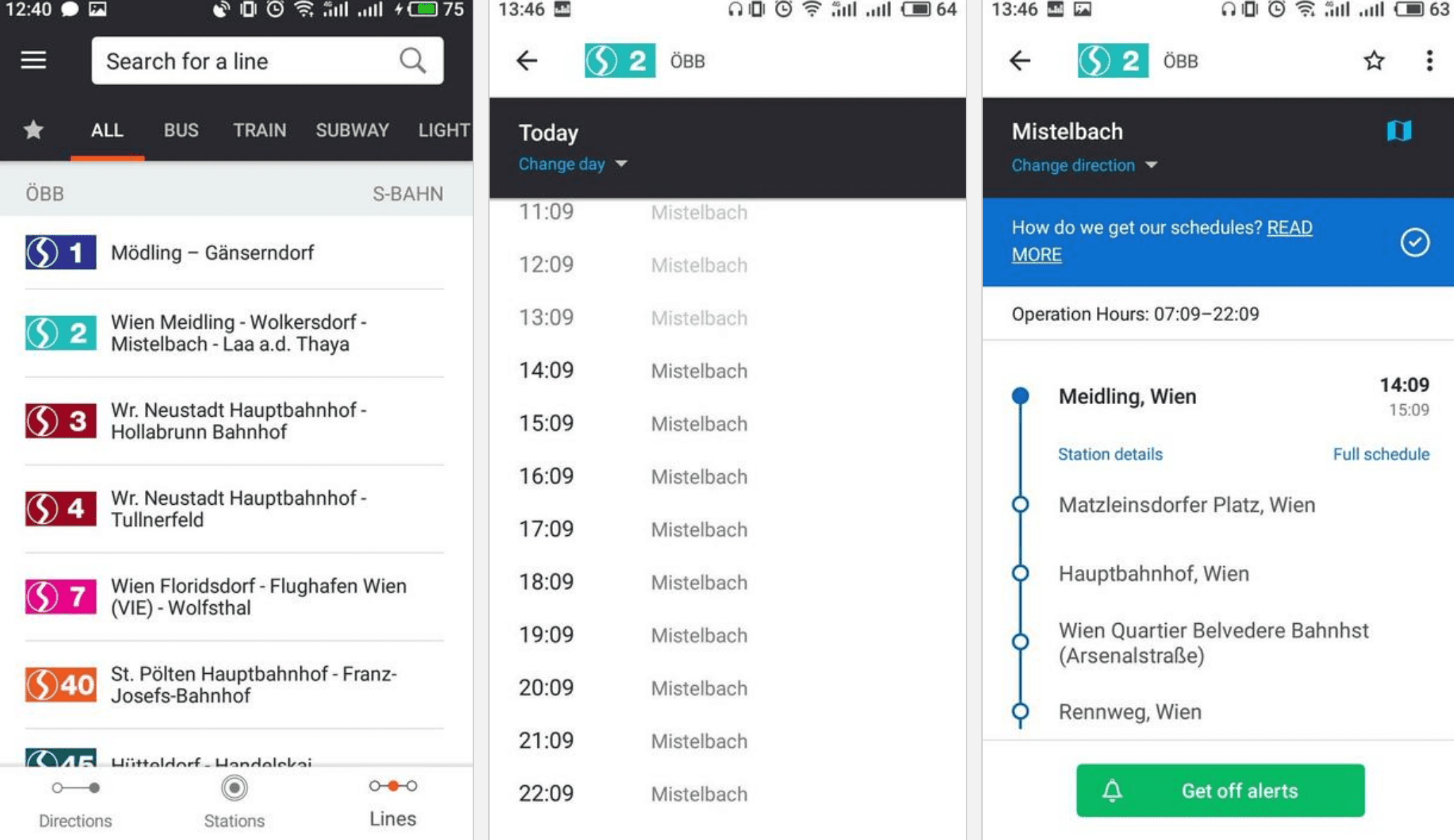 Moovit list of public transportation lines in Vienna