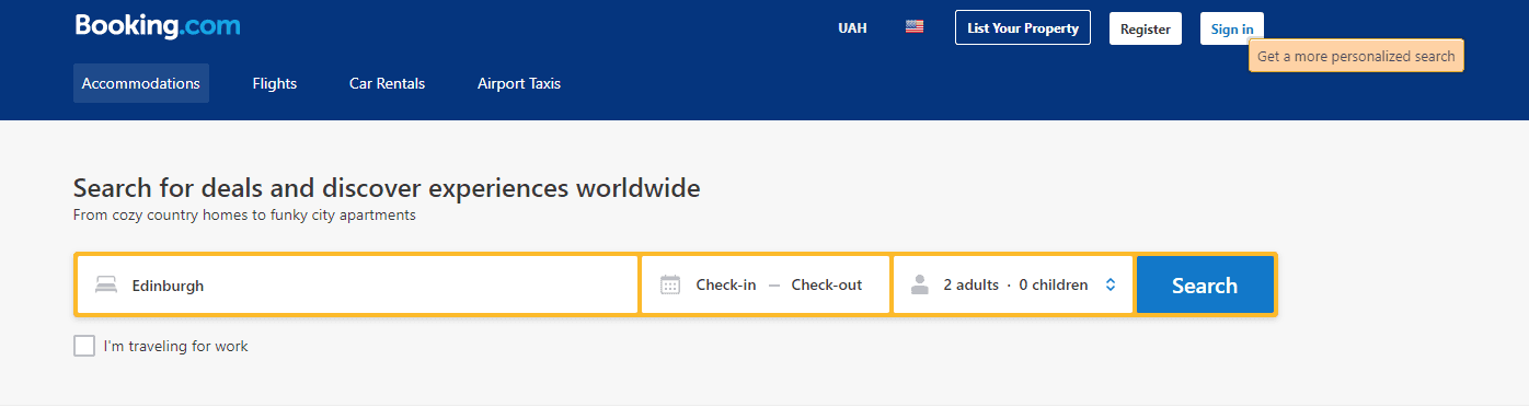 Booking com personalization