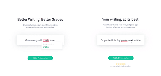Smart content on Grammarly aimed at different segments