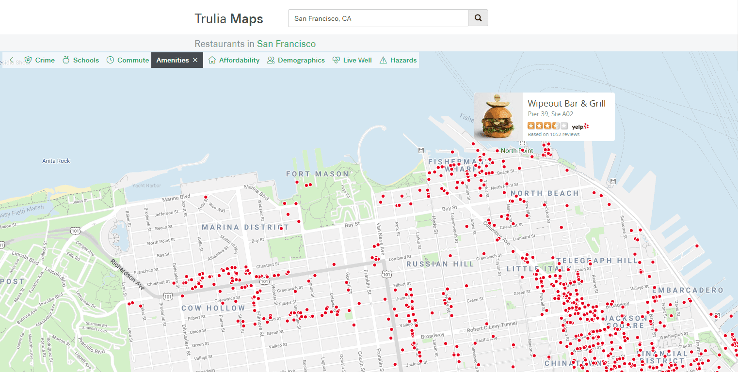 Trulia map with restaurants info using the Yelp API
