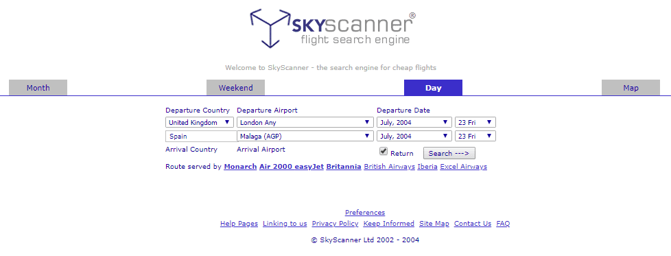 Skyscanner interface 2004