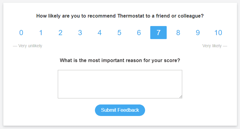 Example of an NPS popup provided by Thermostat