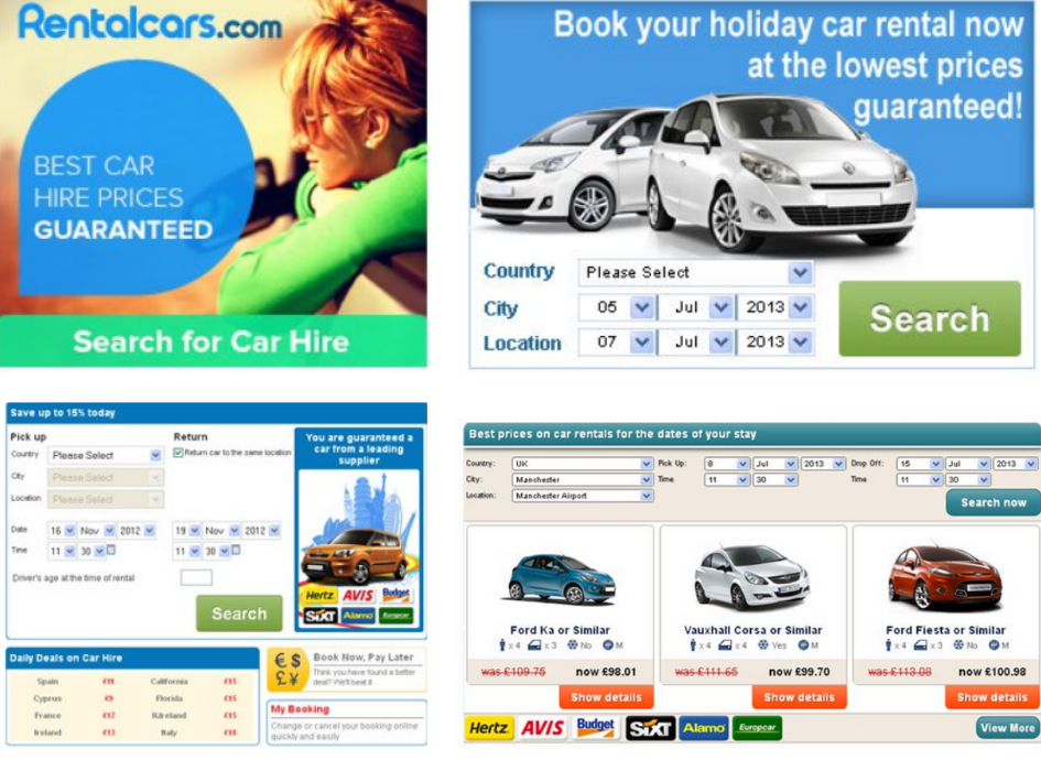 Rentalcars integration options: web banners, a booking engine, and a confirmation page widget