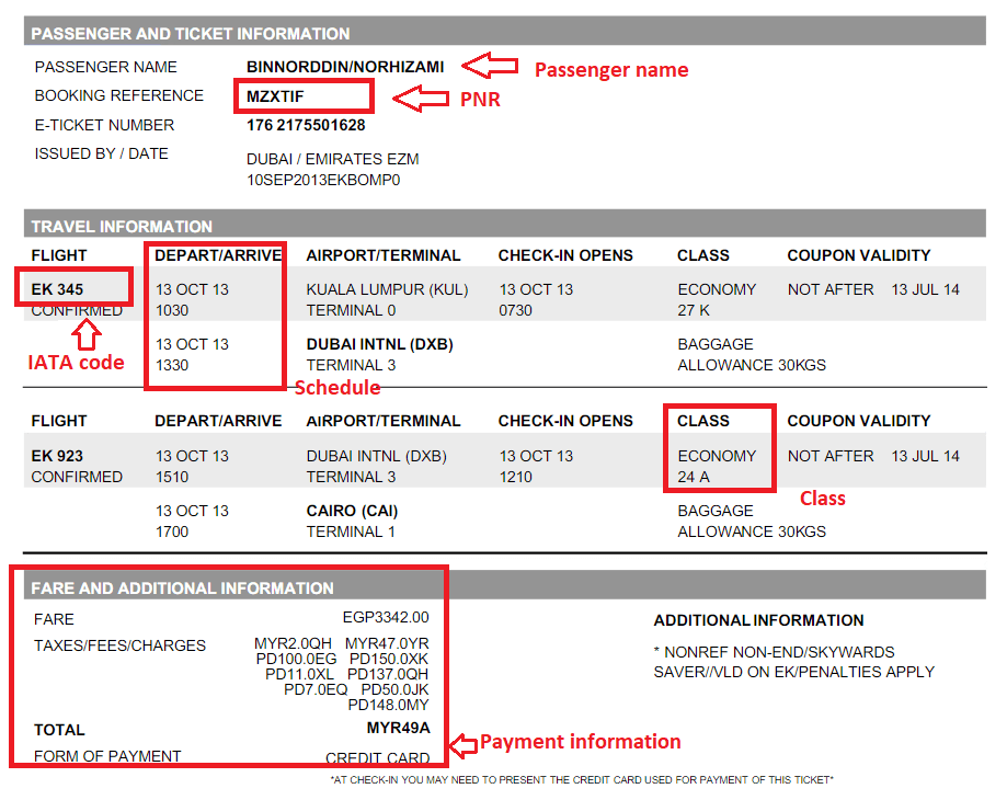 Emirates e-tickets example