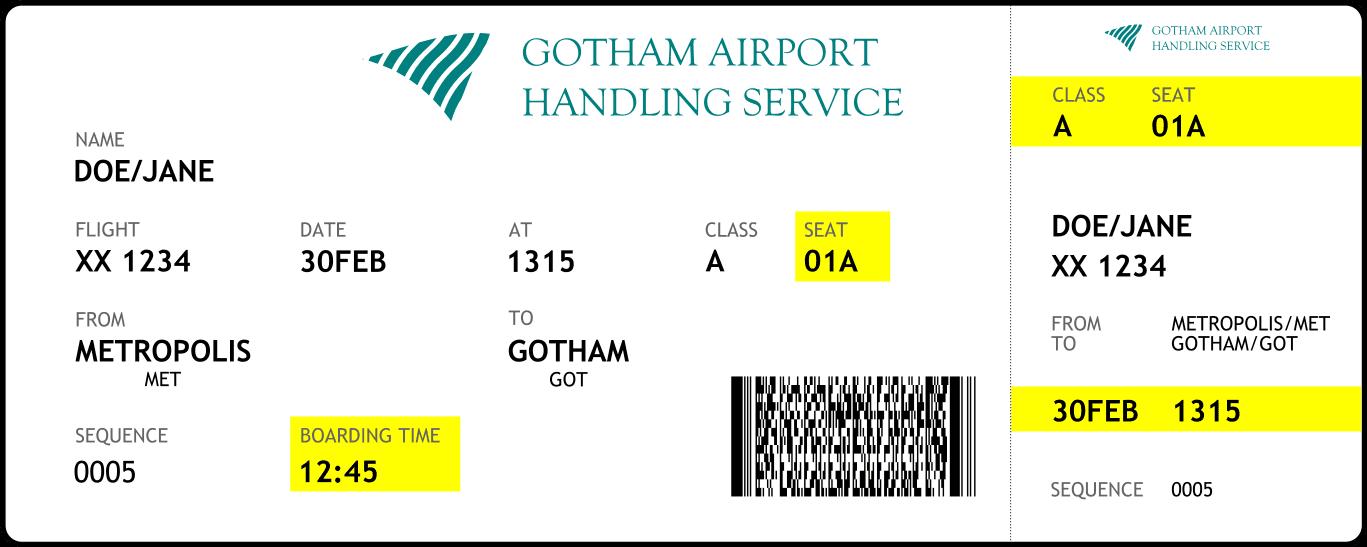 Boarding pass sample