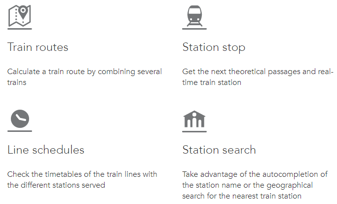 SNCF API options