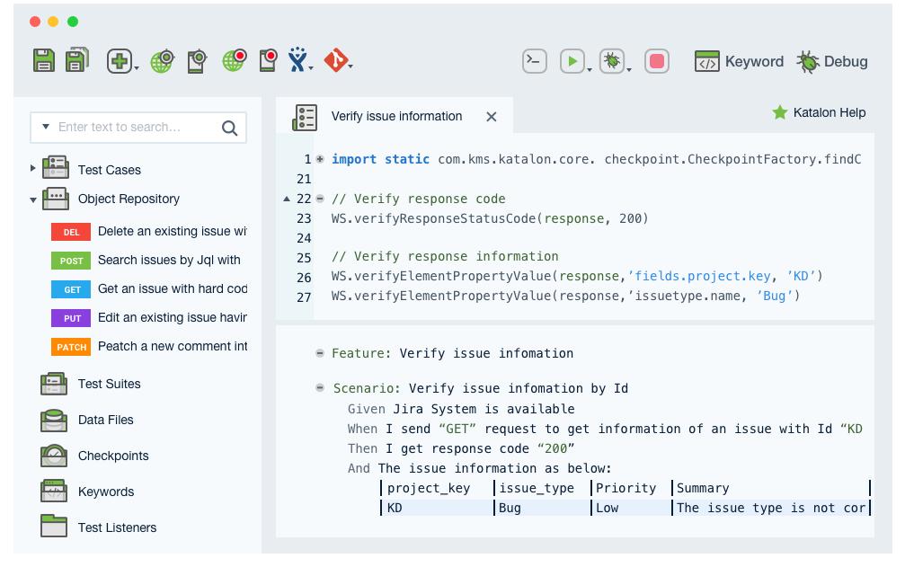 Katalon dashboard for testing API