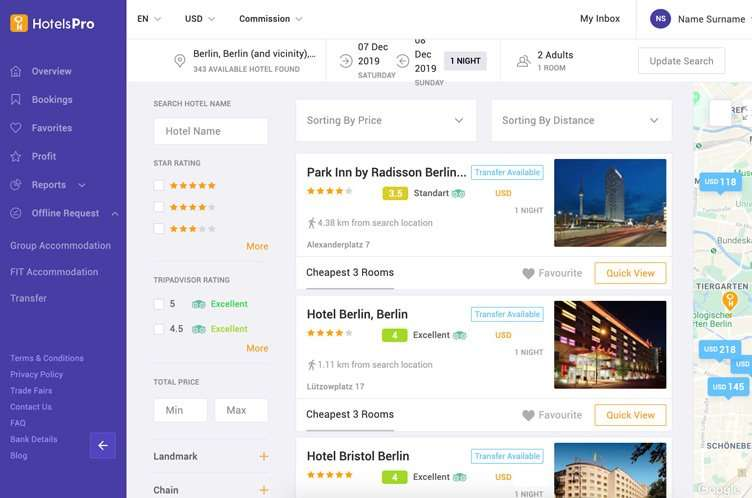 HotelsPro booking interface
