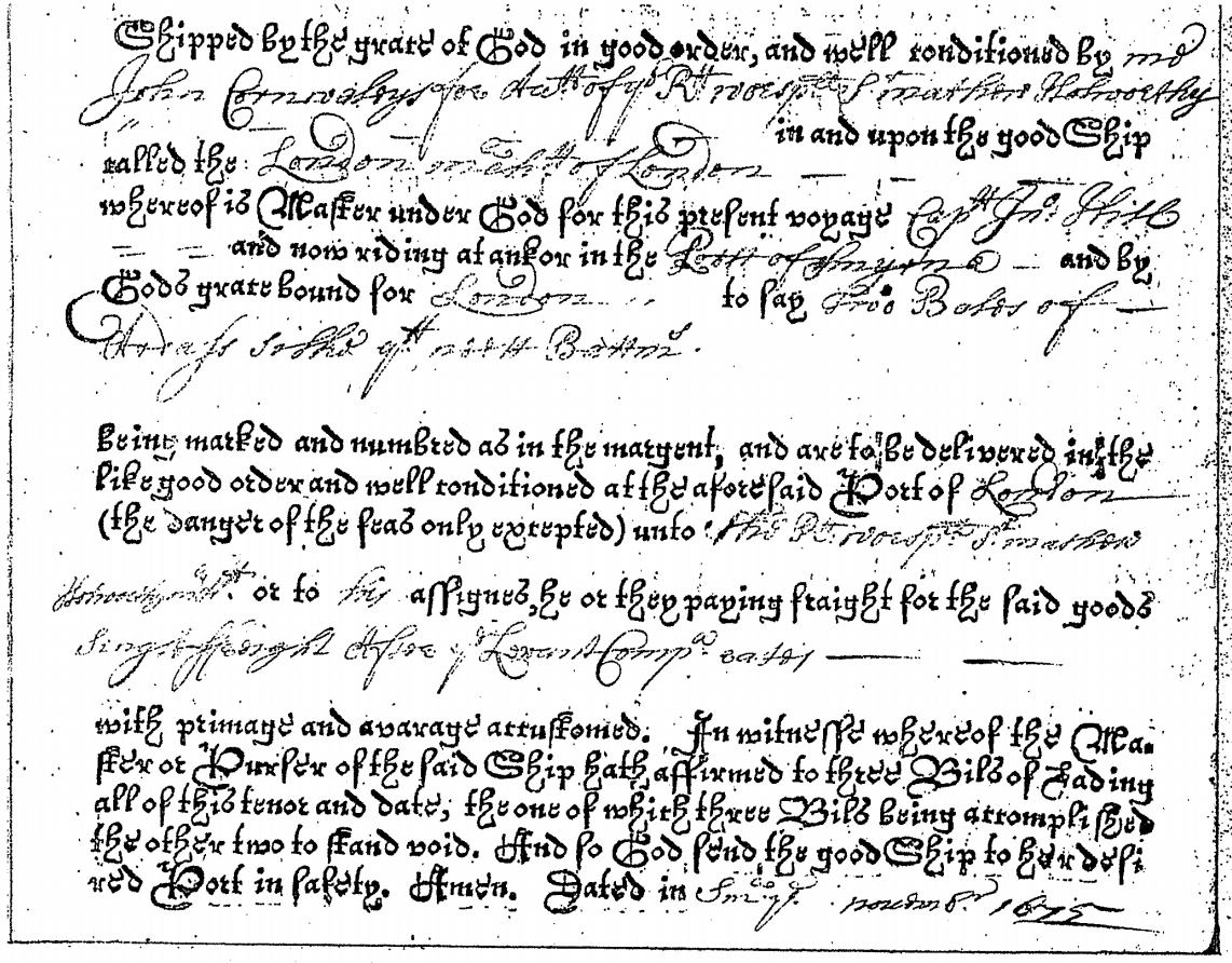 The scanned copy of the oldest bill of lading