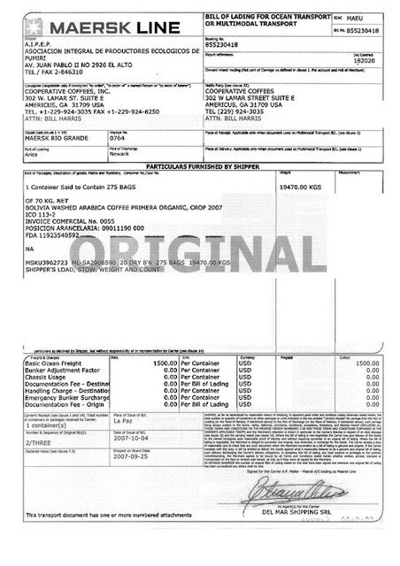 An example of a physical bill of lading