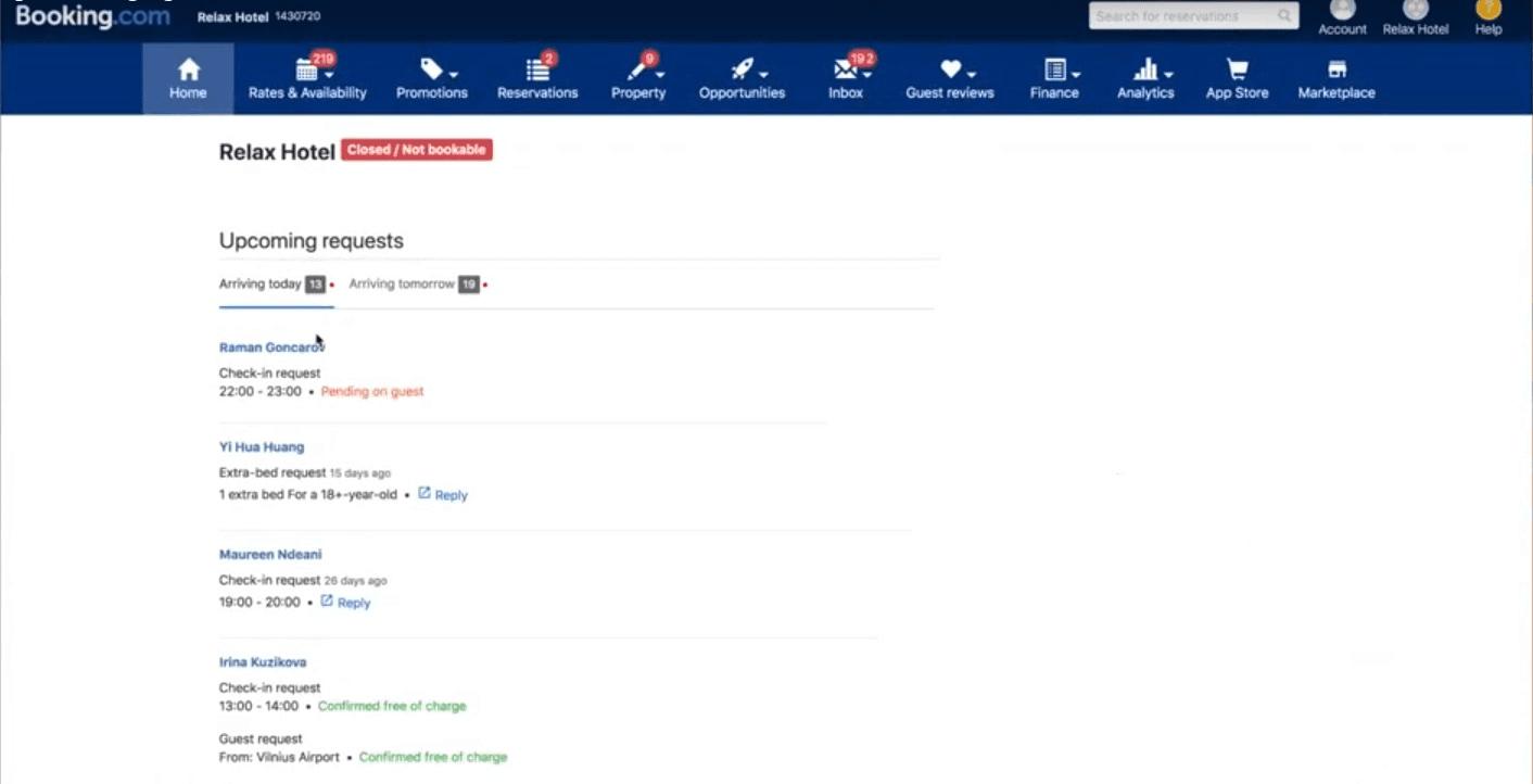 Booking.com Extranet dashboard