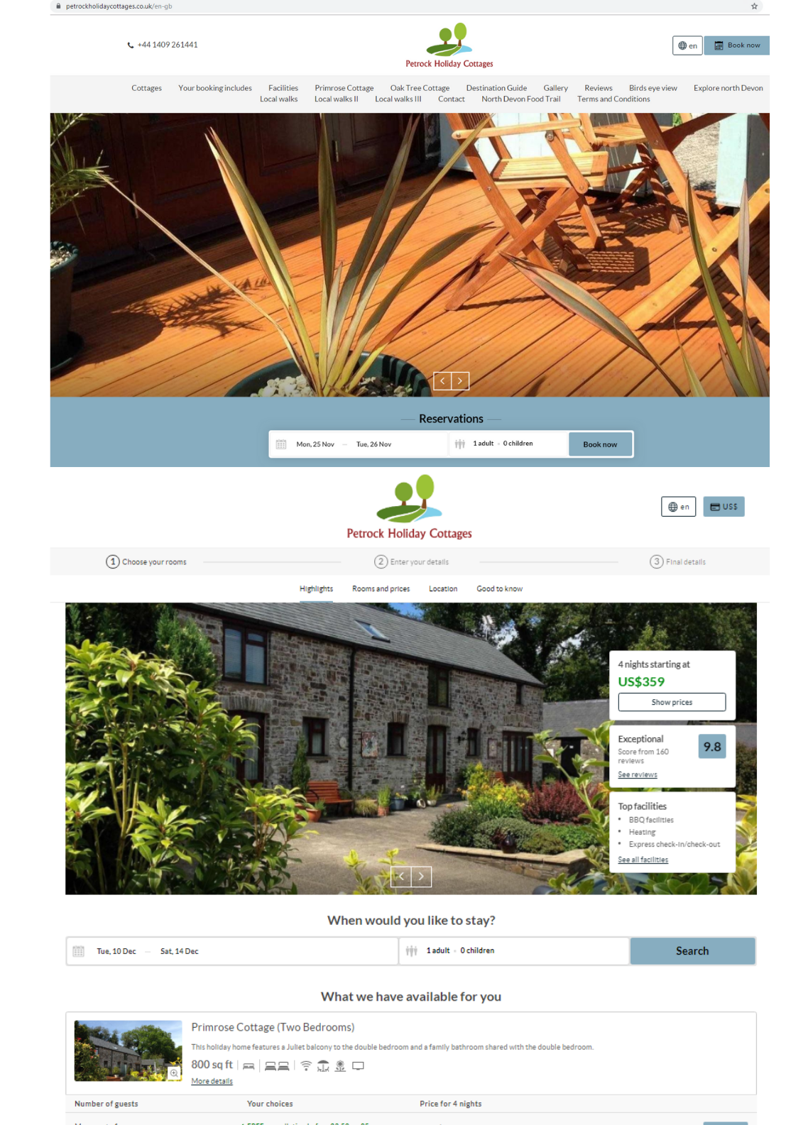A website created using WebDirect