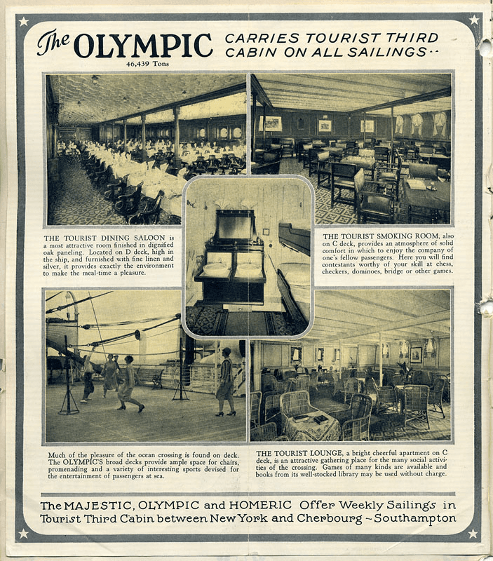Advertisement depicting newly built spaces for the tourist class including a separate dining room and entertainment options