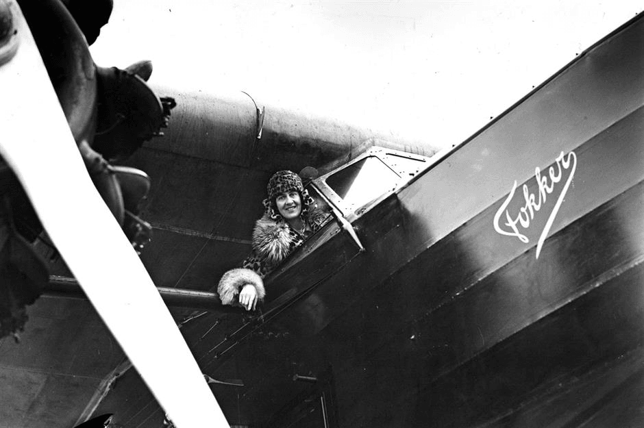 Here pictured Lady Hearth - the first female passenger on a commercial airline