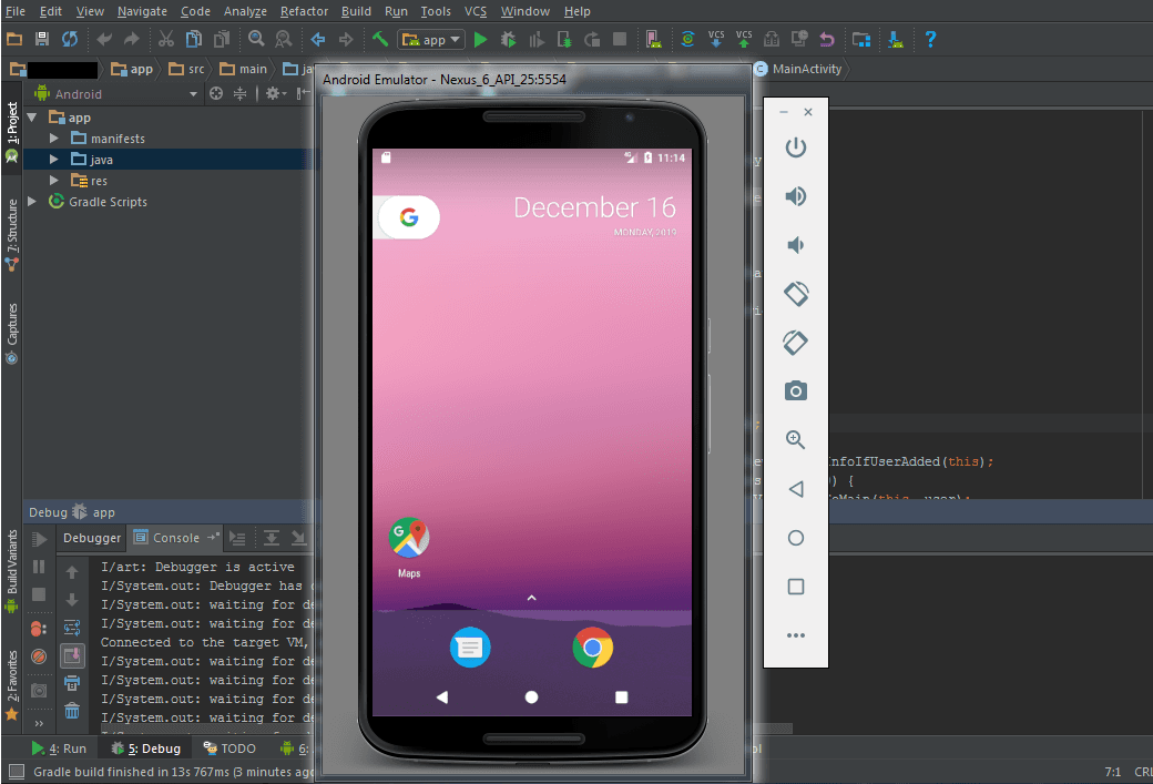 Android emulator in Android Studio