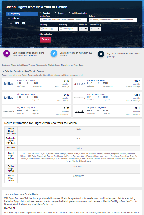 Orbitz has dedicated landing pages for hundreds of their deals