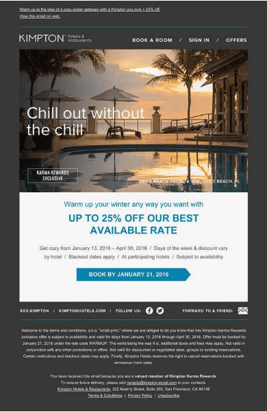One of the great examples of submitting discounts was Kimpton Hotels and restaurants.