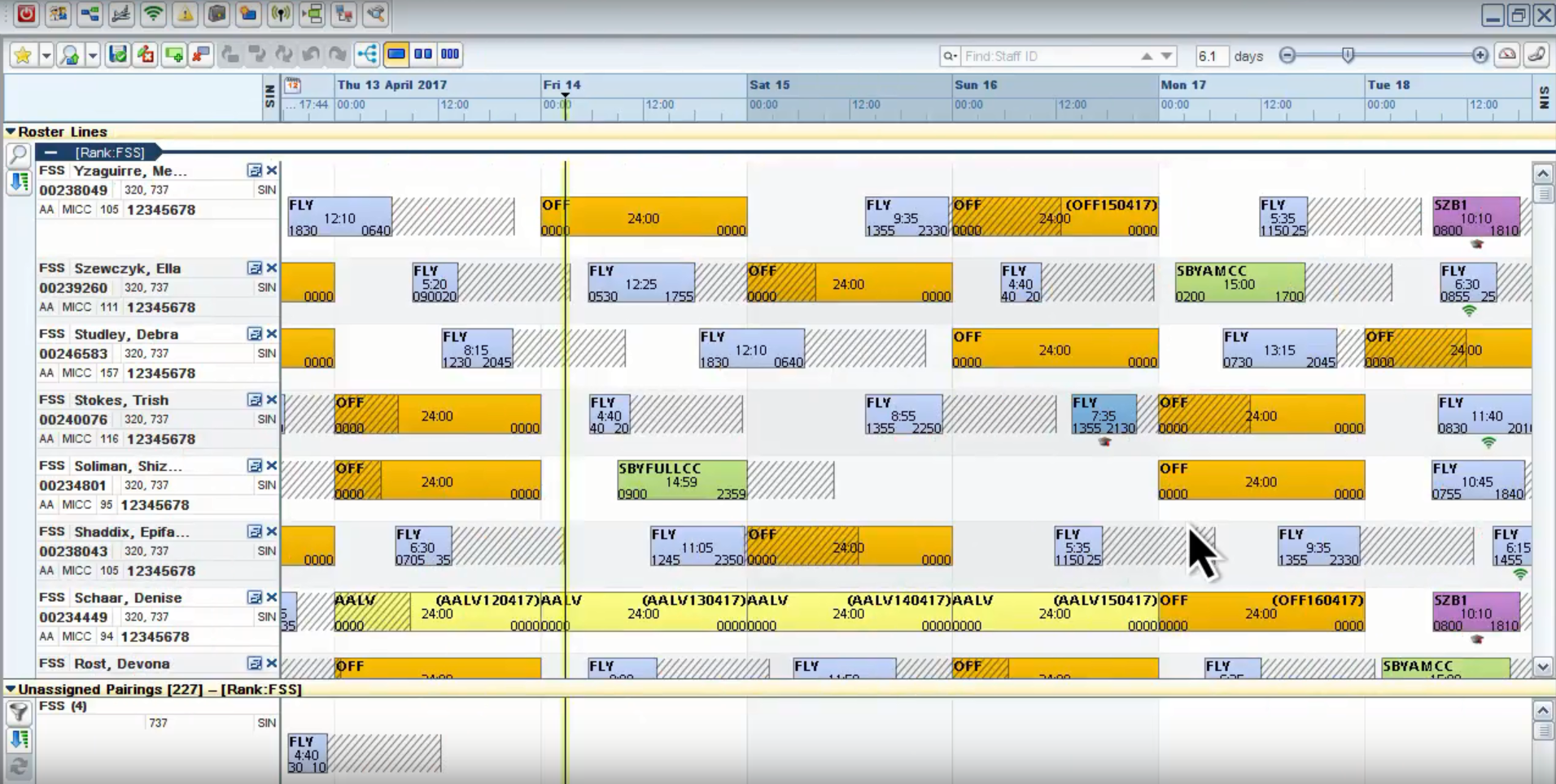 The unified crew pairing and rostering workspace in AirCenter Crew Manager
