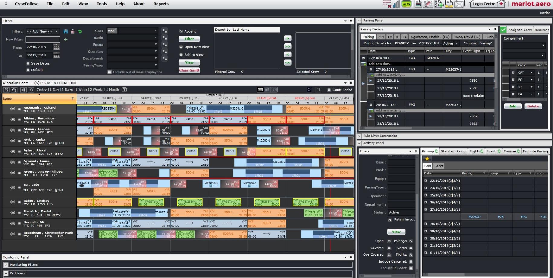 Crew planning system dashboard